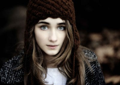 girl in a brown beanie hat