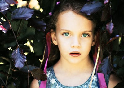 girl with purple ribbons