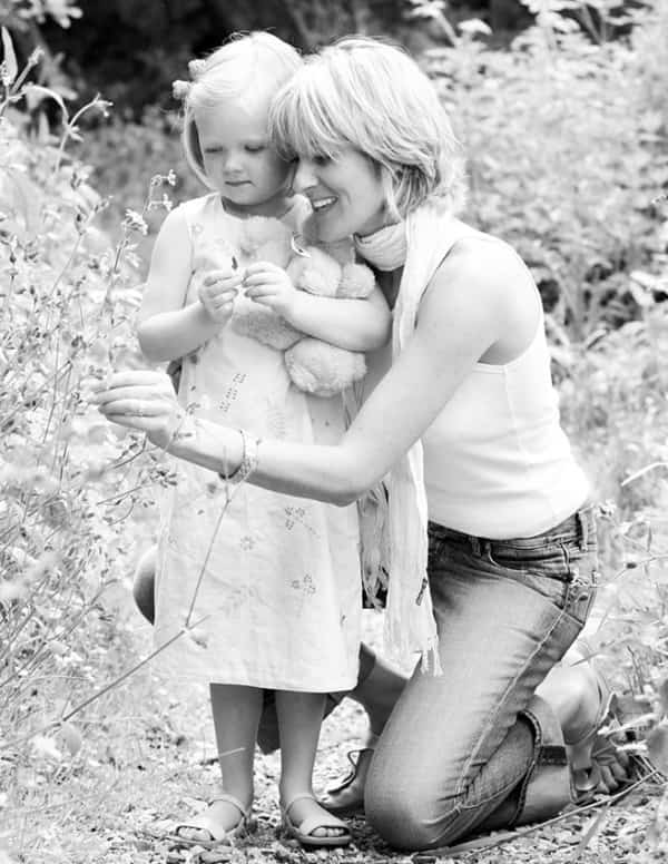 monochrome image of mother and daughter