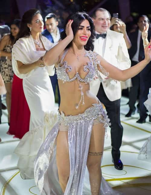 belly dancer performing at a wedding in Cairo